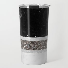Black and White Marble Silver Glitter Stripe Glam #1 #minimal #decor #art #society6 Travel Mug