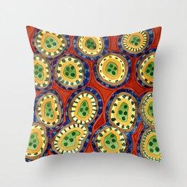 Folcloristic Ringed Circles Pattern Throw Pillow