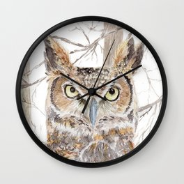 """Watercolor Painting of Picture """"Owl in the Forest"""" Wall Clock"""