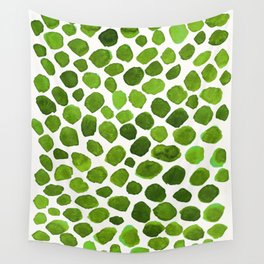 Emerald Green Stones Watercolor Minimalism Painting Wall Tapestry