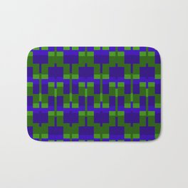 Squares and Lines in Blue and Green Bath Mat
