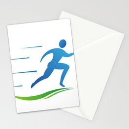 Man Runner Going Fast Stationery Cards