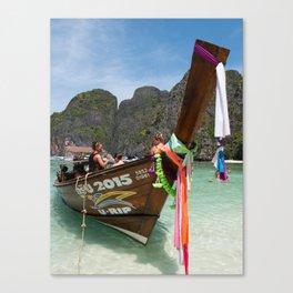 Long Tail Boat, Maya Bay, Ko Phi Phi Lee Island, Thailand Canvas Print