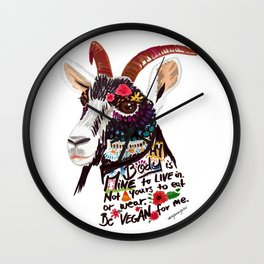 Go vegan goat - my body is mine to live in Wall Clock
