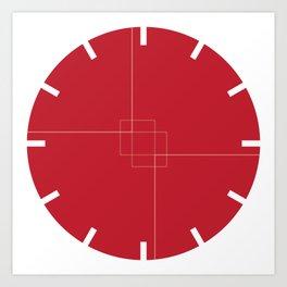 Red Clock Design Art Print
