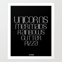 unicorns Art Prints featuring Unicorns by Mia & Booboo
