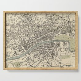 Vintage Map of Glasgow Scotland (1872) Serving Tray