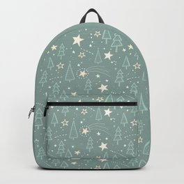 Christmas Nativity - Night Sky and Trees Pattern / Teal Backpack