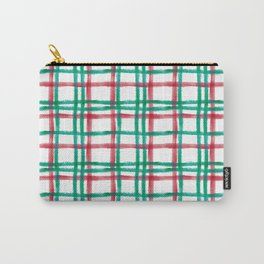 Stripy Lines Hand painted Watercolor Classic Xmas Winter Pattern Carry-All Pouch