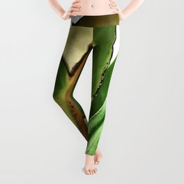 Exquisite Bird of Paradise Leaf in Majestic Repose Leggings