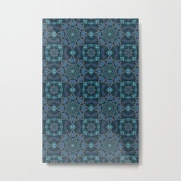 Teal And Blue Marble Stained Glass Design Metal Print