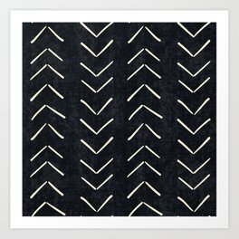 Mudcloth Big Arrows in Black and White Art Print