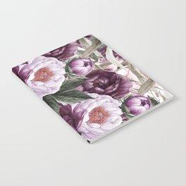 Purple Plum Pink Watercolor Peonies and Greenery Notebook