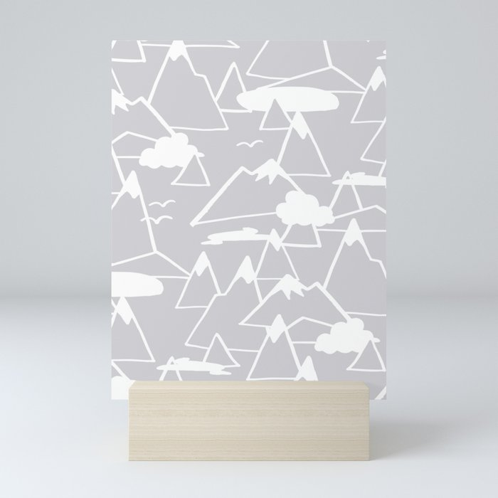 Mountain Scene in Grey Mini Art Print