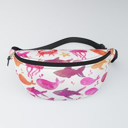 Red Orange Watercolor Fish Silhouettes Pattern Fanny Pack