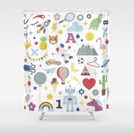 Kids Pattern Party Flat Shower Curtain