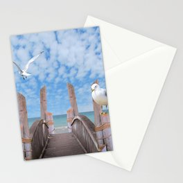 Dock on Beach with Seagulls A340 Stationery Cards