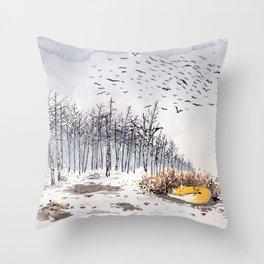 Sleepy in winter Fox Throw Pillow
