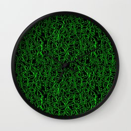 Elio's Shirt Faces Bright Green Neon on Black Wall Clock