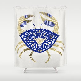 Crab – Navy & Gold Shower Curtain