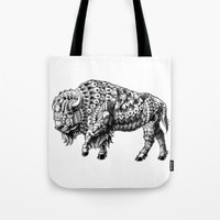 bison Tote Bags featuring Bison by BIOWORKZ