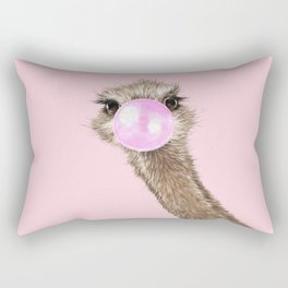 Sneaky Ostrich with Bubble Gum in Pink Rectangular Pillow