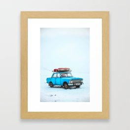 Blue Car Travels (Color) Framed Art Print