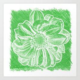 White Flower On Tech Green Crayon Art Print