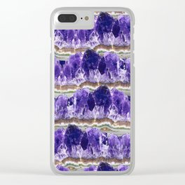 Purple Amethyst Geode Mountains Clear iPhone Case