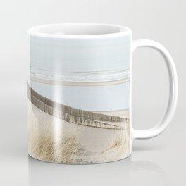 Dunes, beach, sea and beach poles, coastal photography art print, the Netherlands Coffee Mug