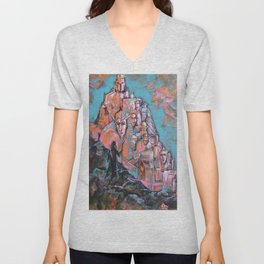 Approaching the City of Shadows Unisex V-Neck