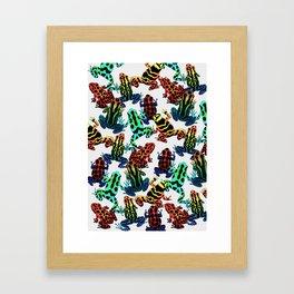 TOXIC FROGS PATTERN Framed Art Print