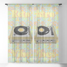 Retro Vibes Record Player Design in Yellow Sheer Curtain