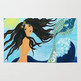 Mermaid, Summer, Sea and Waves Rug