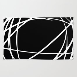 Black and White Circles and Swirls Modern Abstract Rug
