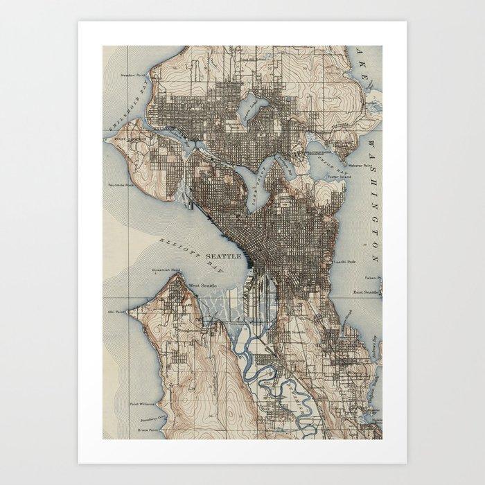 Vintage Map of Seattle Washington (1908) Art Print by bravuramedia ...