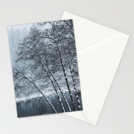 Snow Falling on a Tree Stationery Cards