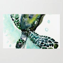 Sea Turtle, underwater scene,  green turquoise beach house design Rug