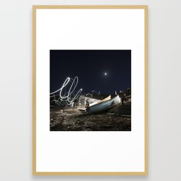 Small harbour at night Framed Art Print