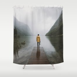 Mountain Lake Vibes - Landscape Photography Shower Curtain