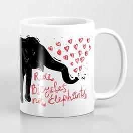Ride bicycles not elephants. Black elephant, Red text Coffee Mug