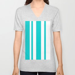 Mixed Vertical Stripes - White and Cyan Unisex V-Neck