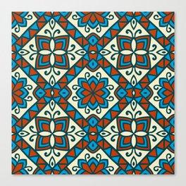 Decorative Floral Tribal Pattern 6 - Vesuvius, Cerulean and Cyprus Blue, Albescent White, Cream Canvas Print