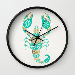 Scorpion – Turquoise & Gold Wall Clock