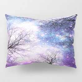Black Trees Violet Purple Blue Space Pillow Sham
