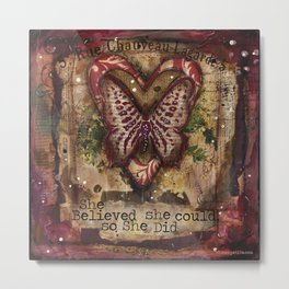 She Believed red butterfly mixed media Metal Print