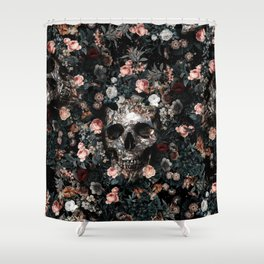 Skull And Floral Pattern Shower Curtain