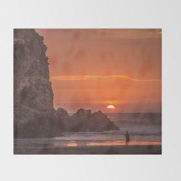 Walk at Sunset Throw Blanket