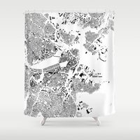 boston map Shower Curtains featuring Boston Map Schwarzplan Only Buildings by City Art Posters