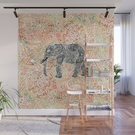 Tribal Paisley Elephant Colorful Henna Floral Pattern Wall Mural